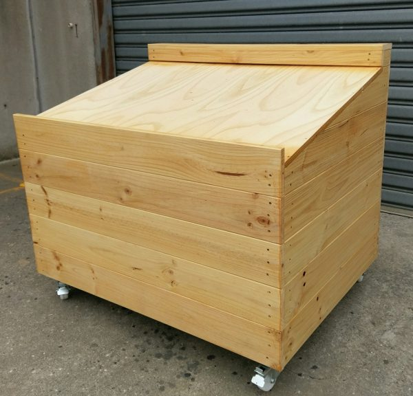 Sloping Display bin, Marshall Pine, Timber Solutions